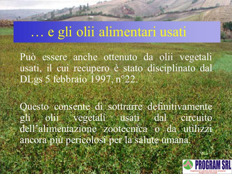 Può essere anche ottenuto da olii vegetali usati, il cui recupero è stato disciplinato dal DLgs 5 febbraio 1997, n°22. Questo consente di sottrarre de