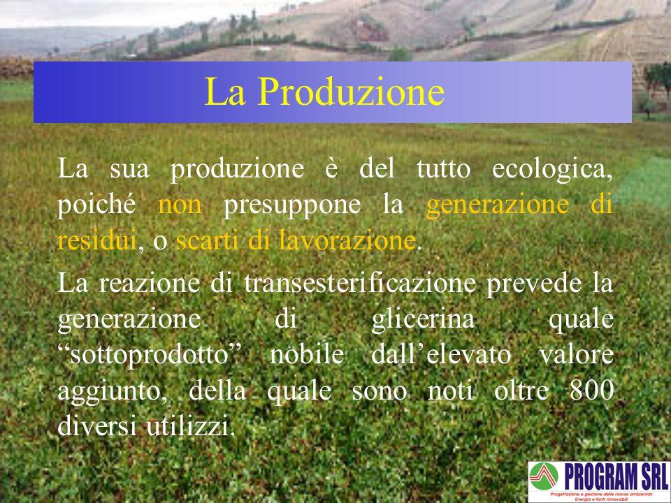 La sua produzione è del tutto ecologica, poiché non presuppone la generazione di residui, o scarti di lavorazione. La reazione di transesterificazione