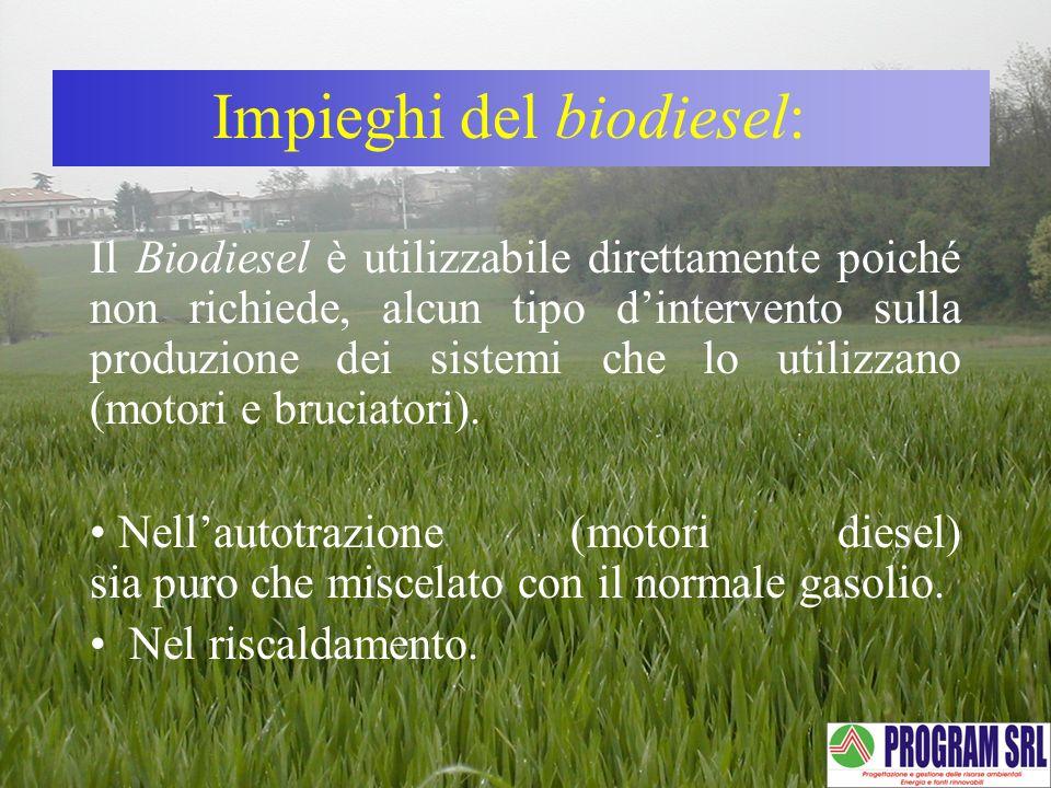 Il Biodiesel è utilizzabile direttamente poiché non richiede, alcun tipo dintervento sulla produzione dei sistemi che lo utilizzano (motori e bruciato