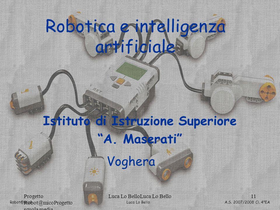 Luca Lo Bello Robot@mico A.S. 2007/2008 Cl. 4°EA Progetto Robot@micoProgetto scuola media Luca Lo BelloLuca Lo Bello11 Robotica e intelligenza artific