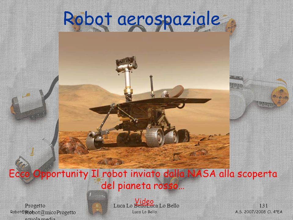 Luca Lo Bello Robot@mico A.S. 2007/2008 Cl. 4°EA Progetto Robot@micoProgetto scuola media Luca Lo BelloLuca Lo Bello131 Robot aerospaziale Ecco Opport