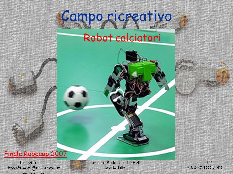Luca Lo Bello Robot@mico A.S. 2007/2008 Cl. 4°EA Progetto Robot@micoProgetto scuola media Luca Lo BelloLuca Lo Bello141 Campo ricreativo Robot calciat
