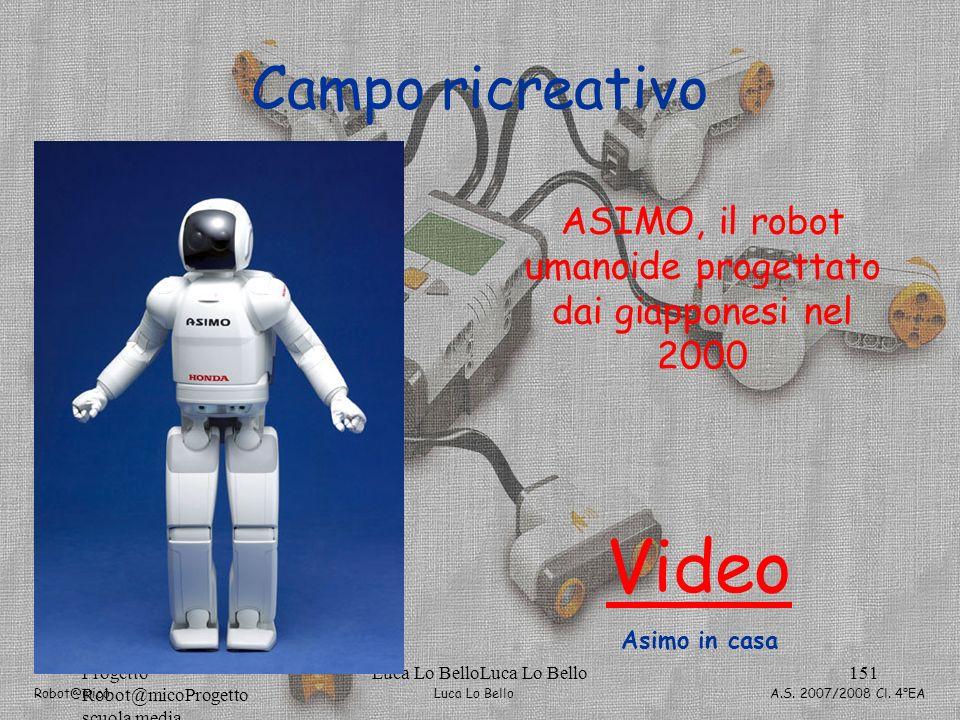 Luca Lo Bello Robot@mico A.S. 2007/2008 Cl. 4°EA Progetto Robot@micoProgetto scuola media Luca Lo BelloLuca Lo Bello151 Campo ricreativo ASIMO, il rob