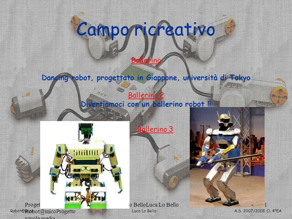 Luca Lo Bello Robot@mico A.S. 2007/2008 Cl. 4°EA Progetto Robot@micoProgetto scuola media Luca Lo BelloLuca Lo Bello161 Campo ricreativo Ballerino Dan