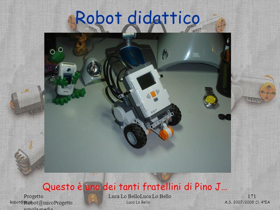 Luca Lo Bello Robot@mico A.S. 2007/2008 Cl. 4°EA Progetto Robot@micoProgetto scuola media Luca Lo BelloLuca Lo Bello171 Robot didattico Questo è uno d