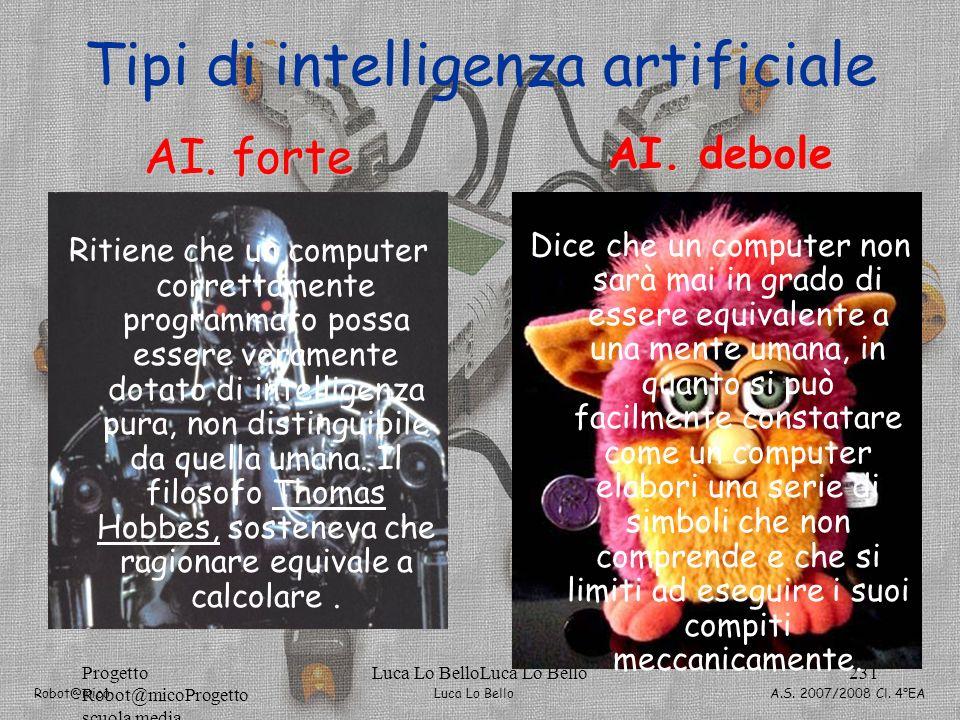 Luca Lo Bello Robot@mico A.S. 2007/2008 Cl. 4°EA Progetto Robot@micoProgetto scuola media Luca Lo BelloLuca Lo Bello231 Tipi di intelligenza artificia