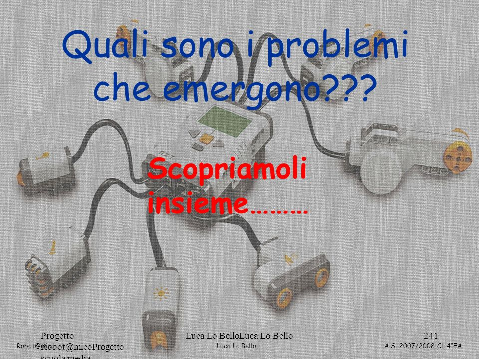 Luca Lo Bello Robot@mico A.S. 2007/2008 Cl. 4°EA Progetto Robot@micoProgetto scuola media Luca Lo BelloLuca Lo Bello241 Quali sono i problemi che emer