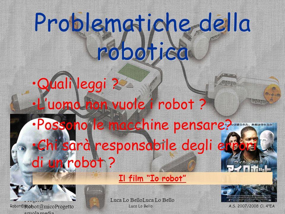 Luca Lo Bello Robot@mico A.S. 2007/2008 Cl. 4°EA Progetto Robot@micoProgetto scuola media Luca Lo BelloLuca Lo Bello251 della robotica Problematiche d