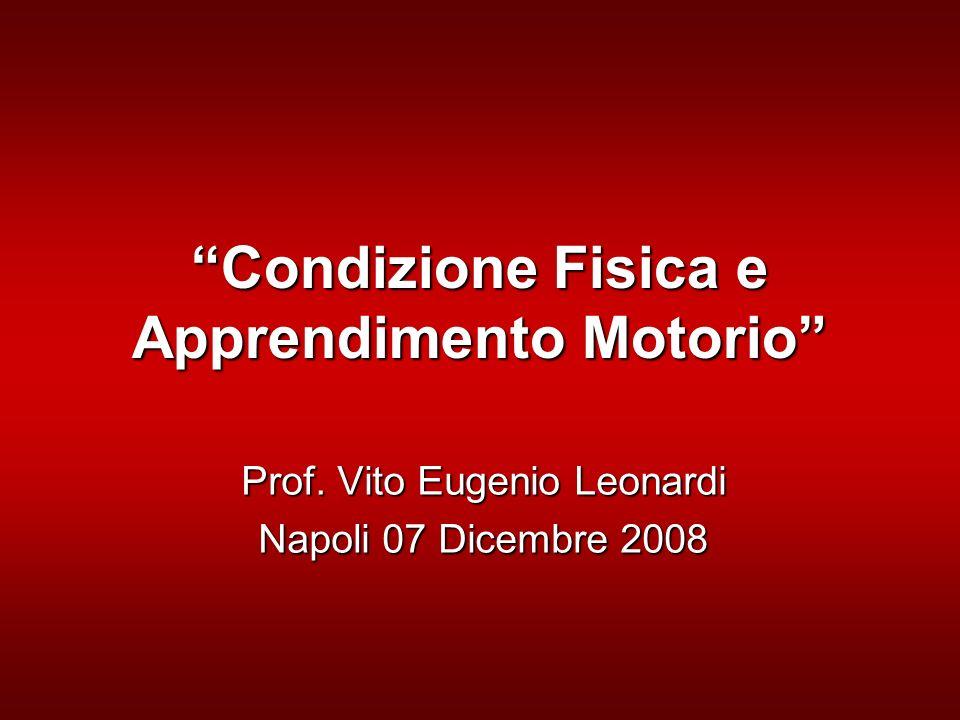 Condizione Fisica e Apprendimento Motorio Prof. Vito Eugenio Leonardi Napoli 07 Dicembre 2008