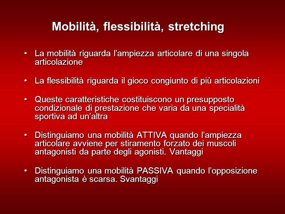 Mobilità, flessibilità, stretching La mobilità riguarda lampiezza articolare di una singola articolazioneLa mobilità riguarda lampiezza articolare di una singola articolazione La flessibilità riguarda il gioco congiunto di più articolazioniLa flessibilità riguarda il gioco congiunto di più articolazioni Queste caratteristiche costituiscono un presupposto condizionale di prestazione che varia da una specialità sportiva ad unaltraQueste caratteristiche costituiscono un presupposto condizionale di prestazione che varia da una specialità sportiva ad unaltra Distinguiamo una mobilità ATTIVA quando lampiezza articolare avviene per stiramento forzato dei muscoli antagonisti da parte degli agonisti.