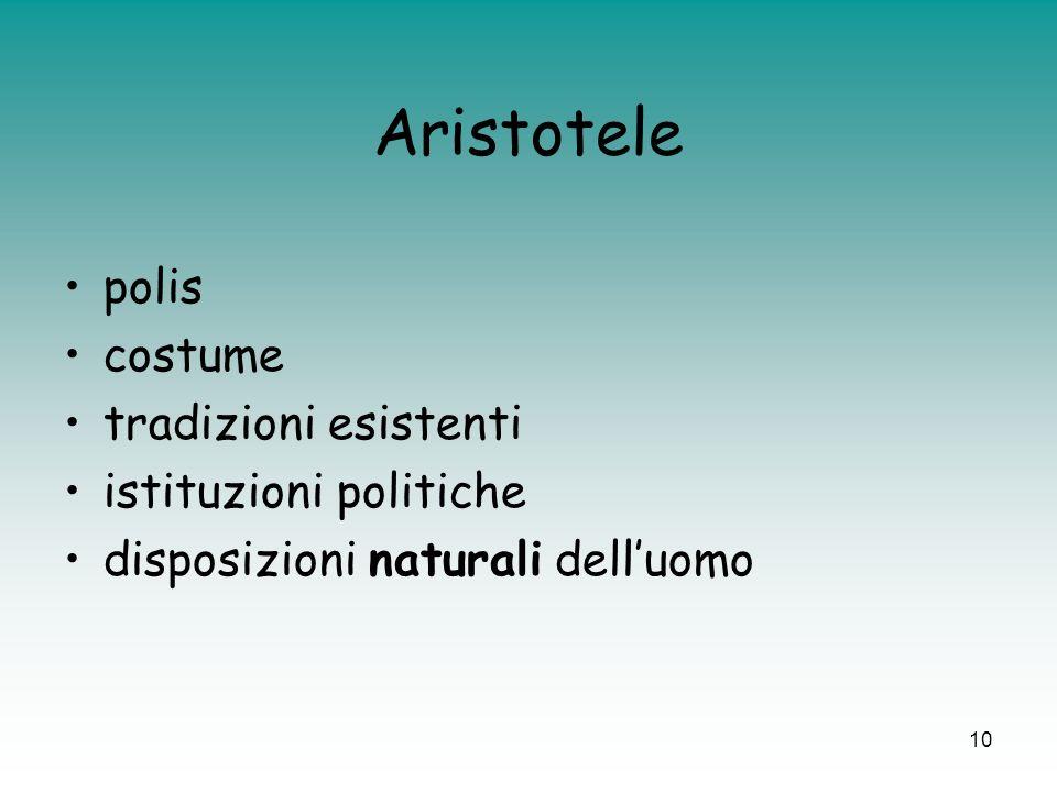10 Aristotele polis costume tradizioni esistenti istituzioni politiche disposizioni naturali delluomo