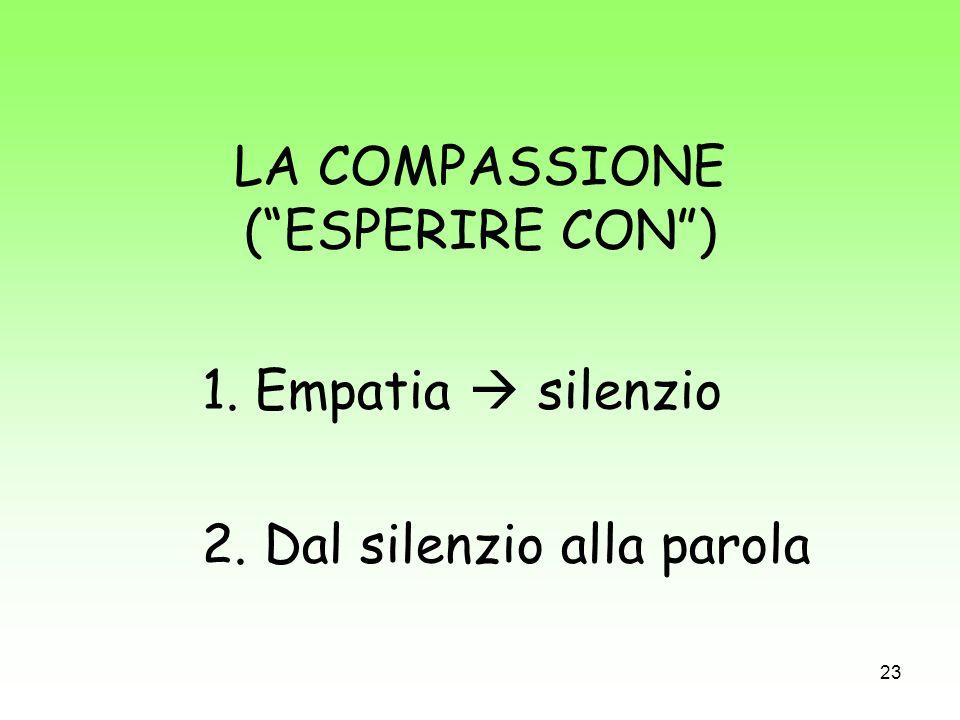 23 LA COMPASSIONE (ESPERIRE CON) 1. Empatia silenzio 2. Dal silenzio alla parola