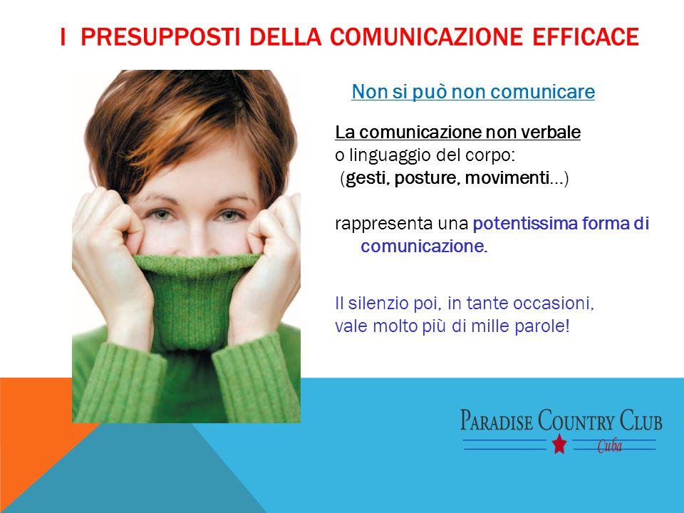 I PRESUPPOSTI DELLA COMUNICAZIONE EFFICACE Non si può non comunicare La comunicazione non verbale o linguaggio del corpo: (gesti, posture, movimenti…)