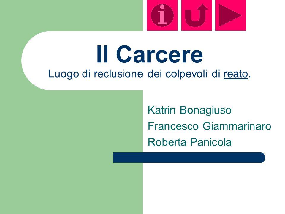 Il Carcere Luogo di reclusione dei colpevoli di reato.reato Katrin Bonagiuso Francesco Giammarinaro Roberta Panicola