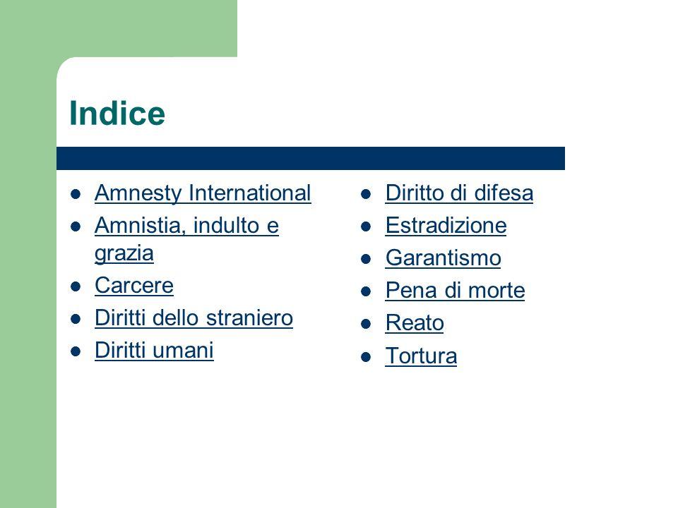 Indice Amnesty International Amnistia, indulto e grazia Amnistia, indulto e grazia Carcere Diritti dello straniero Diritti umani Diritto di difesa Estradizione Garantismo Pena di morte Reato Tortura