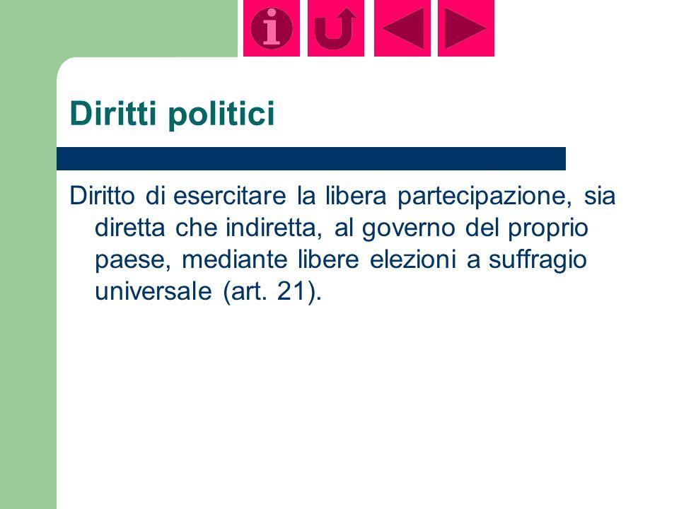 Diritti politici Diritto di esercitare la libera partecipazione, sia diretta che indiretta, al governo del proprio paese, mediante libere elezioni a suffragio universale (art.