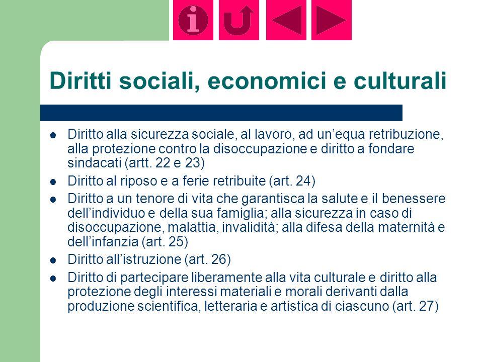Diritti sociali, economici e culturali Diritto alla sicurezza sociale, al lavoro, ad unequa retribuzione, alla protezione contro la disoccupazione e diritto a fondare sindacati (artt.