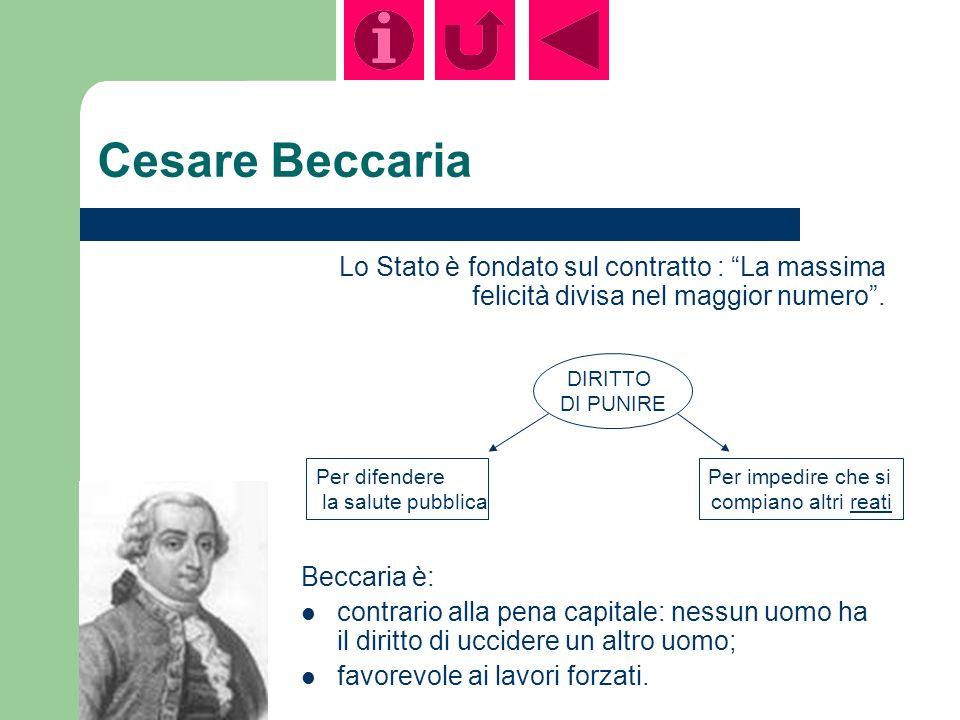 Cesare Beccaria Lo Stato è fondato sul contratto : La massima felicità divisa nel maggior numero.