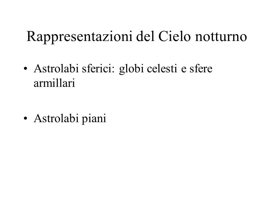 Rappresentazioni del Cielo notturno Astrolabi sferici: globi celesti e sfere armillari Astrolabi piani