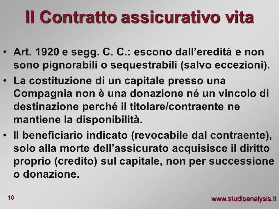 www.studioanalysis.it 10 Il Contratto assicurativo vita Art. 1920 e segg. C. C.: escono dalleredità e non sono pignorabili o sequestrabili (salvo ecce