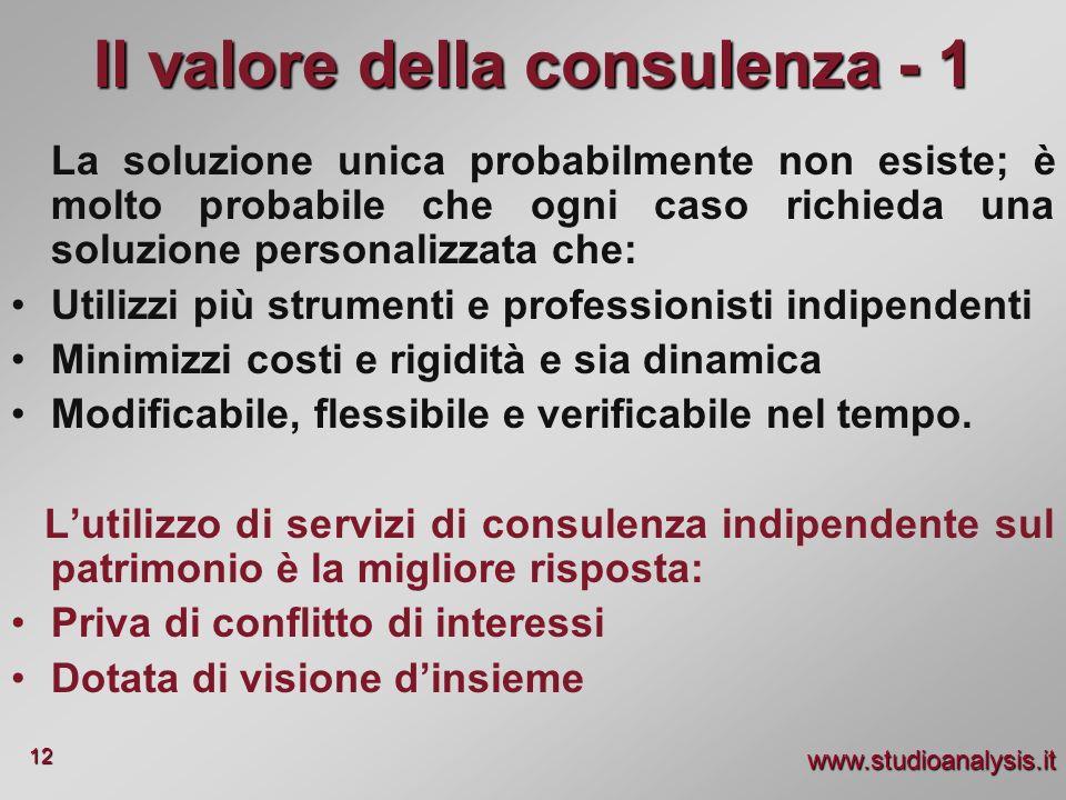 www.studioanalysis.it 12 La soluzione unica probabilmente non esiste; è molto probabile che ogni caso richieda una soluzione personalizzata che: Utili