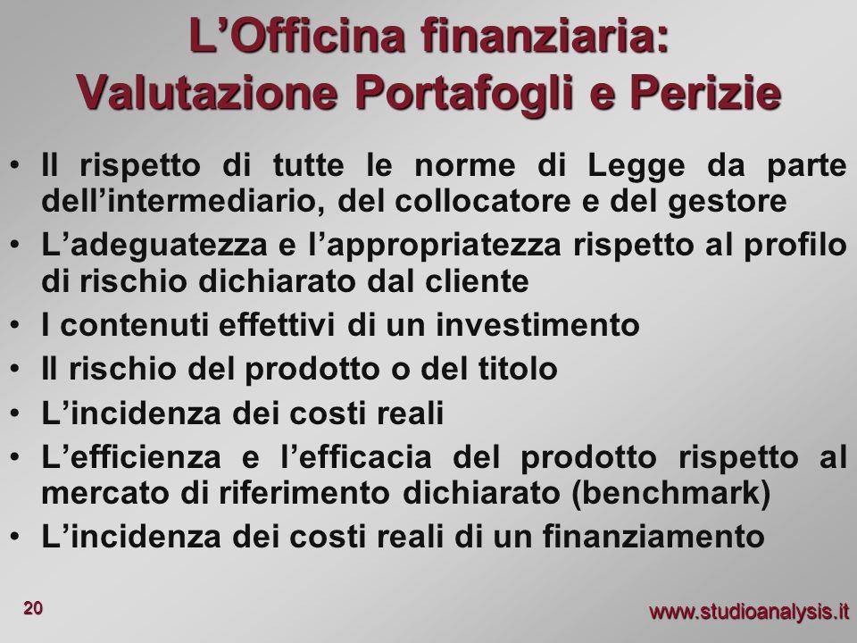 www.studioanalysis.it 20 LOfficina finanziaria: Valutazione Portafogli e Perizie Il rispetto di tutte le norme di Legge da parte dellintermediario, de