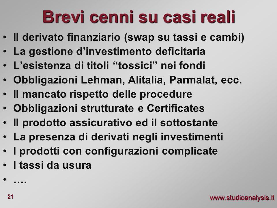 www.studioanalysis.it 21 Brevi cenni su casi reali Il derivato finanziario (swap su tassi e cambi) La gestione dinvestimento deficitaria Lesistenza di