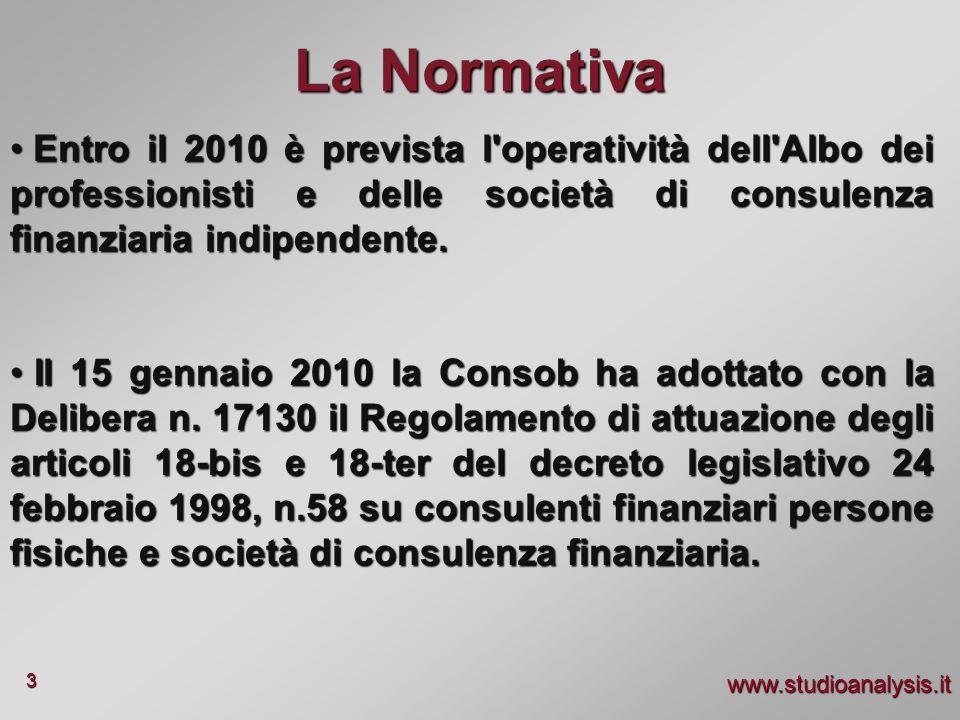 www.studioanalysis.it 3 La Normativa Entro il 2010 è prevista l'operatività dell'Albo dei professionisti e delle società di consulenza finanziaria ind