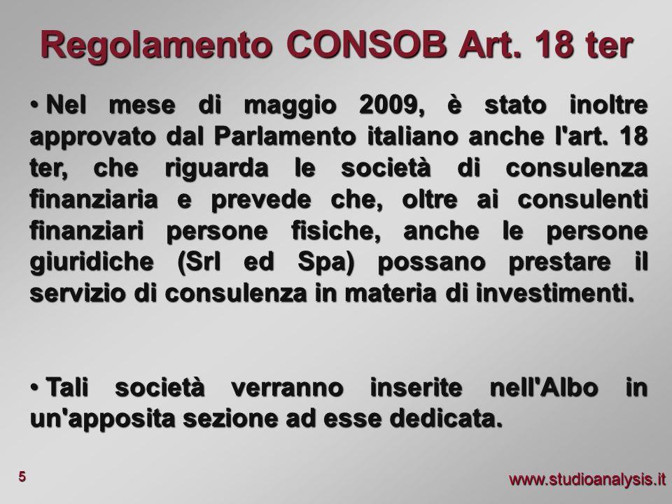 www.studioanalysis.it 5 Nel mese di maggio 2009, è stato inoltre approvato dal Parlamento italiano anche l'art. 18 ter, che riguarda le società di con