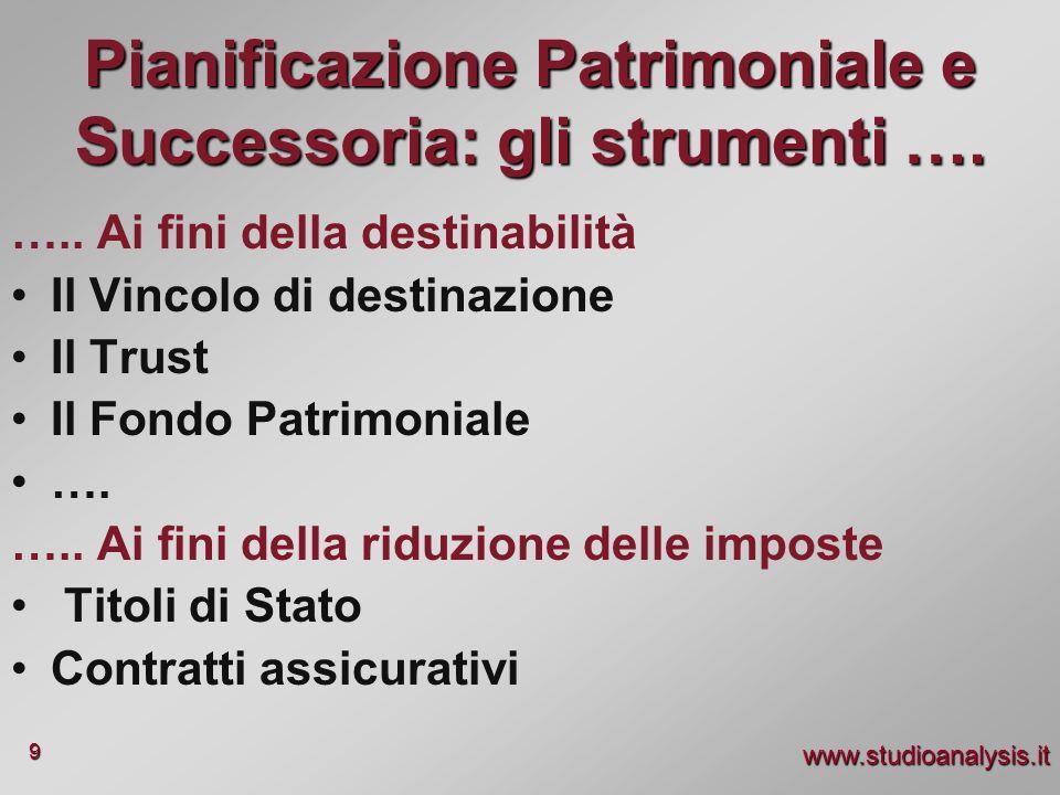 www.studioanalysis.it 9 Pianificazione Patrimoniale e Successoria: gli strumenti …. ….. Ai fini della destinabilità Il Vincolo di destinazione Il Trus
