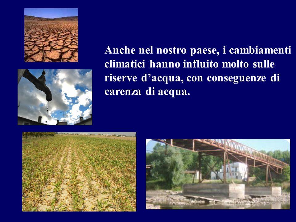 Anche nel nostro paese, i cambiamenti climatici hanno influito molto sulle riserve dacqua, con conseguenze di carenza di acqua.