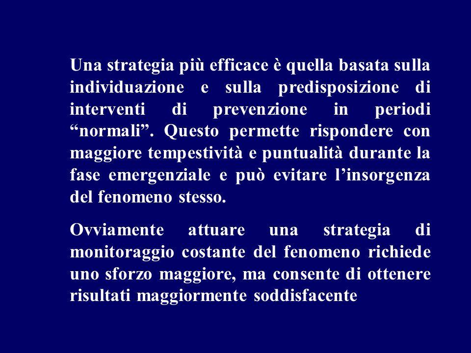 Una strategia più efficace è quella basata sulla individuazione e sulla predisposizione di interventi di prevenzione in periodi normali. Questo permet