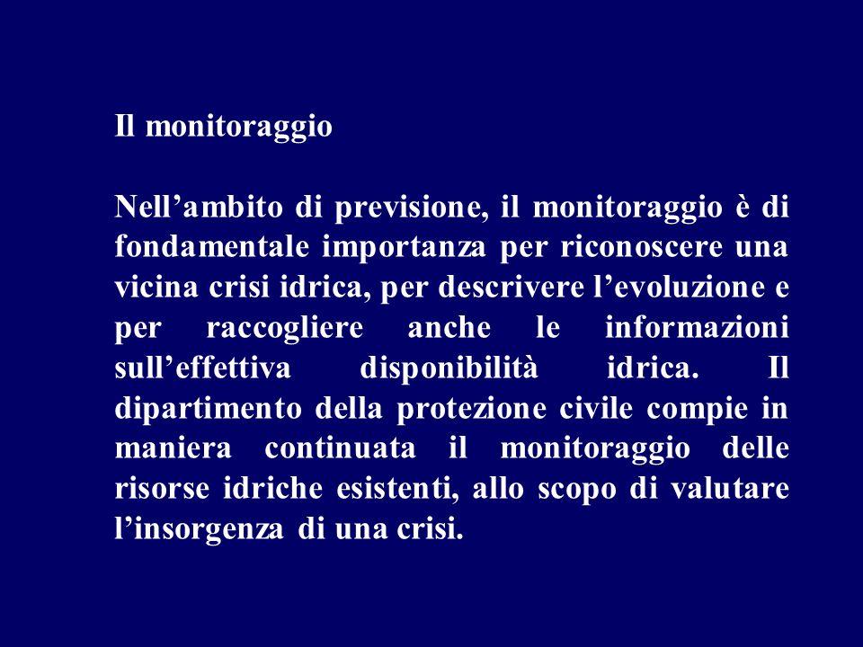 Il monitoraggio Nellambito di previsione, il monitoraggio è di fondamentale importanza per riconoscere una vicina crisi idrica, per descrivere levoluz