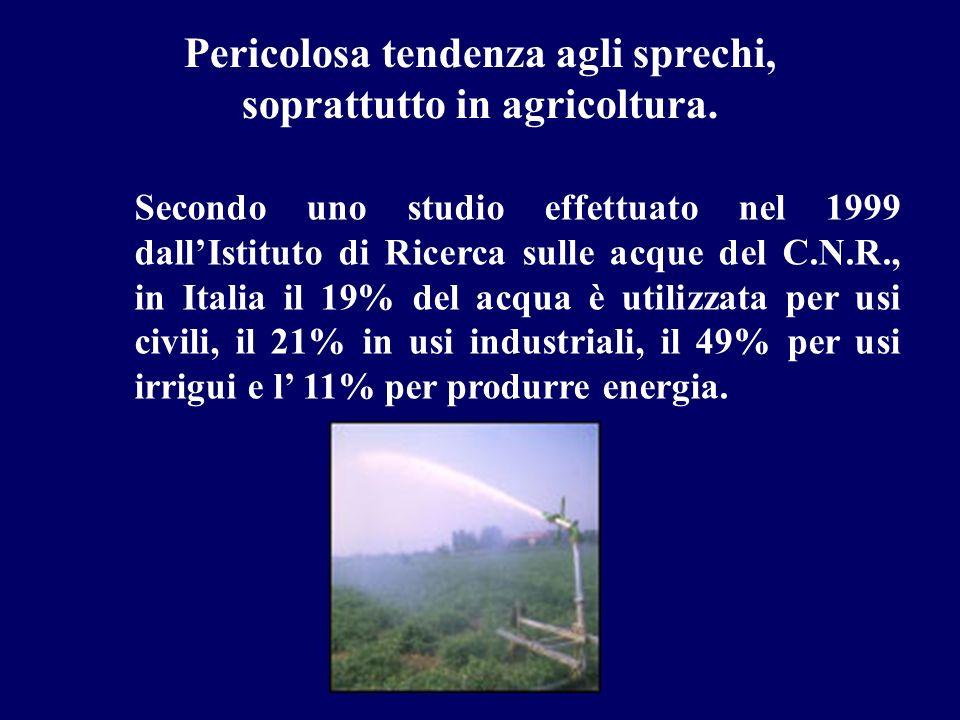 Secondo uno studio effettuato nel 1999 dallIstituto di Ricerca sulle acque del C.N.R., in Italia il 19% del acqua è utilizzata per usi civili, il 21%