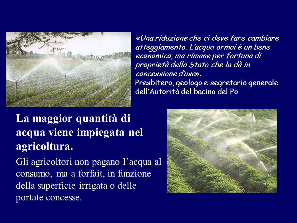 Gli agricoltori non pagano lacqua al consumo, ma a forfait, in funzione della superficie irrigata o delle portate concesse. « ». «Una riduzione che ci