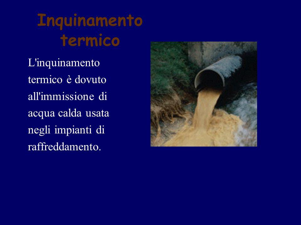 Inquinamento termico L'inquinamento termico è dovuto all'immissione di acqua calda usata negli impianti di raffreddamento.