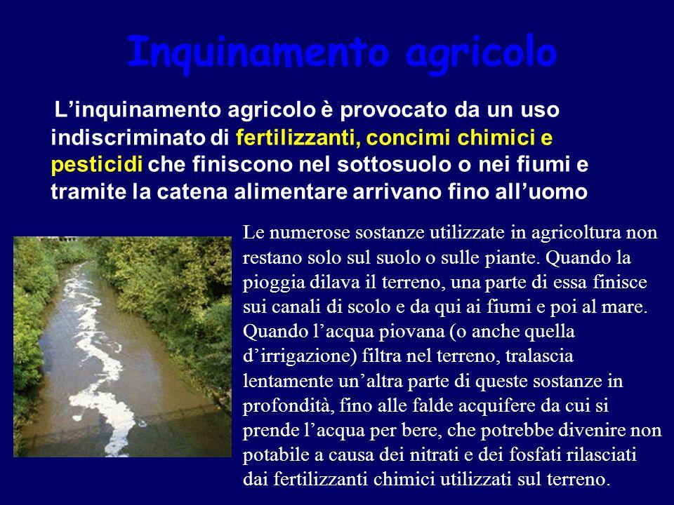 Inquinamento agricolo Linquinamento agricolo è provocato da un uso indiscriminato di fertilizzanti, concimi chimici e pesticidi che finiscono nel sott