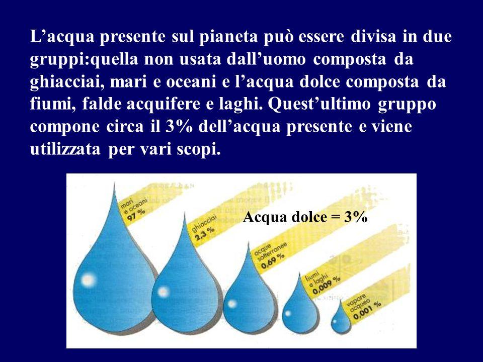 Lacqua presente sul pianeta può essere divisa in due gruppi:quella non usata dalluomo composta da ghiacciai, mari e oceani e lacqua dolce composta da