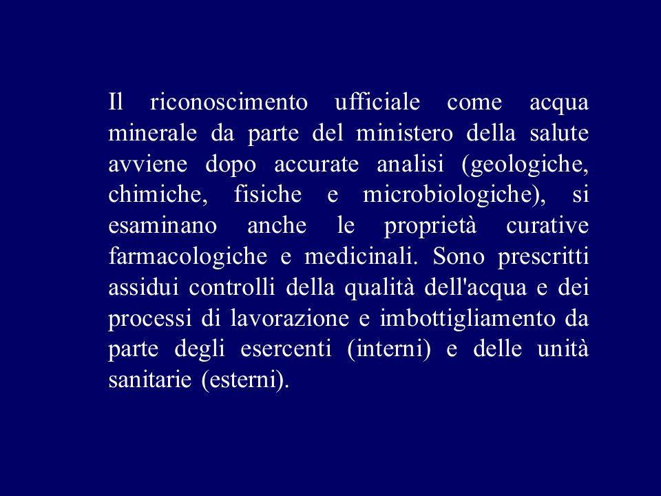 Il riconoscimento ufficiale come acqua minerale da parte del ministero della salute avviene dopo accurate analisi (geologiche, chimiche, fisiche e mic