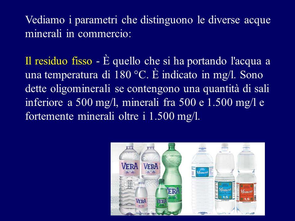 Vediamo i parametri che distinguono le diverse acque minerali in commercio: Il residuo fisso - È quello che si ha portando l'acqua a una temperatura d