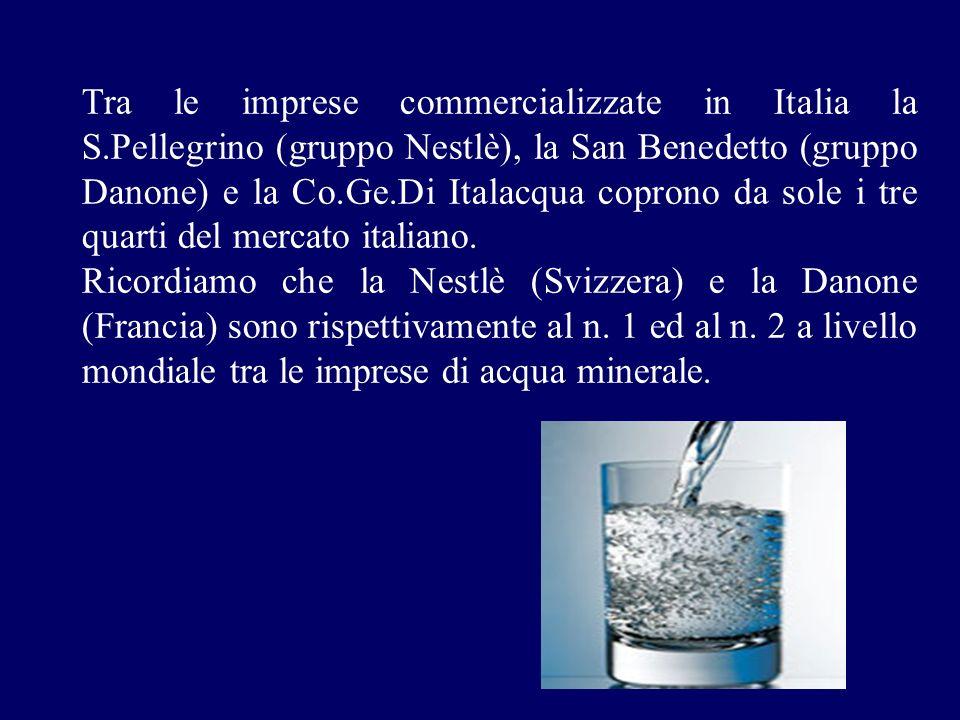 Tra le imprese commercializzate in Italia la S.Pellegrino (gruppo Nestlè), la San Benedetto (gruppo Danone) e la Co.Ge.Di Italacqua coprono da sole i
