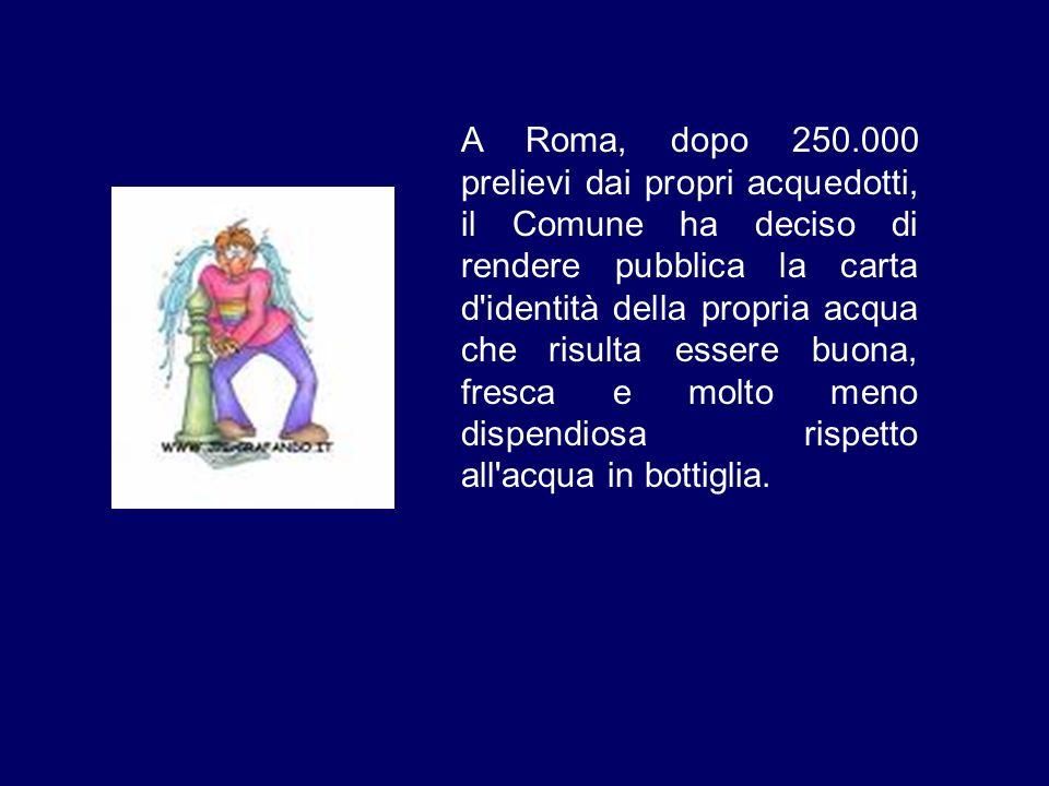 A Roma, dopo 250.000 prelievi dai propri acquedotti, il Comune ha deciso di rendere pubblica la carta d'identità della propria acqua che risulta esser