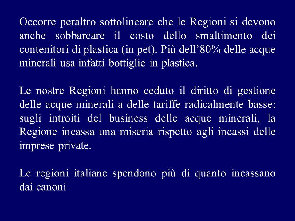 Occorre peraltro sottolineare che le Regioni si devono anche sobbarcare il costo dello smaltimento dei contenitori di plastica (in pet). Più dell80% d