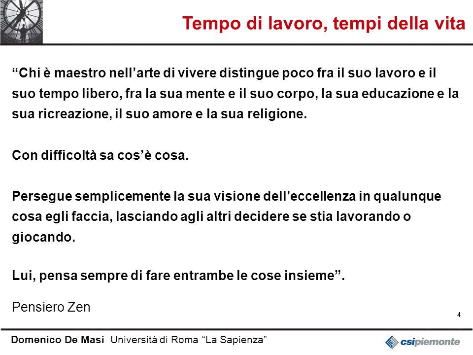 4 Domenico De Masi Università di Roma La Sapienza Chi è maestro nellarte di vivere distingue poco fra il suo lavoro e il suo tempo libero, fra la sua