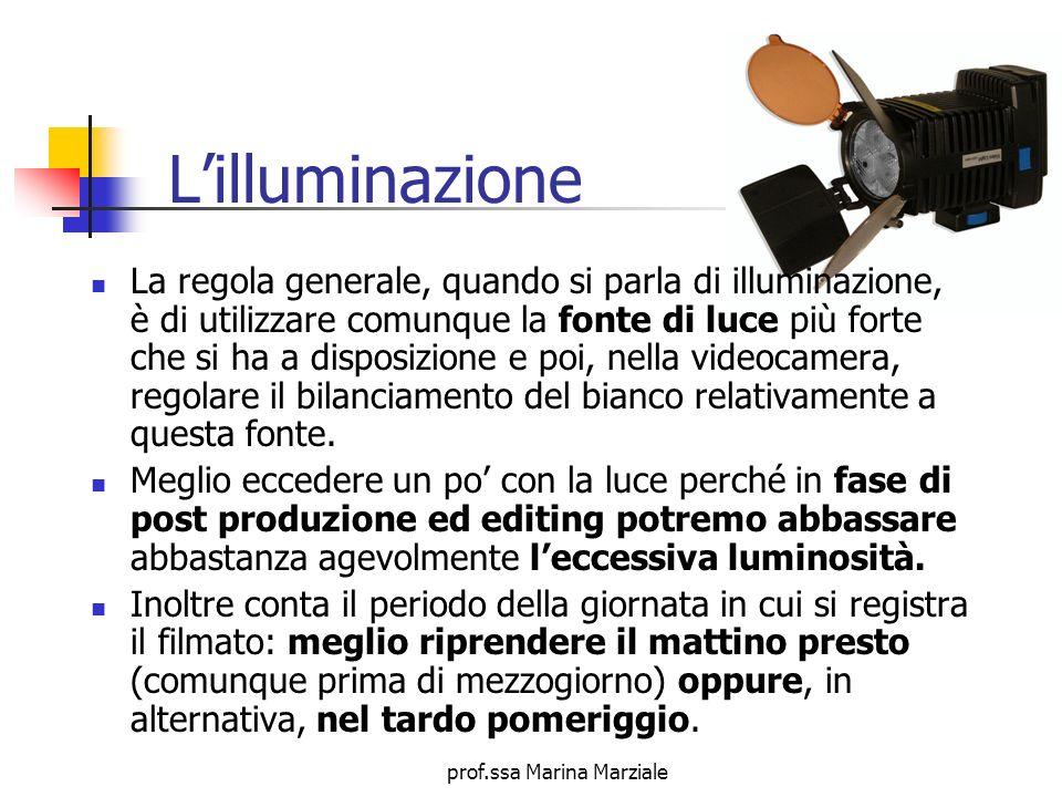 prof.ssa Marina Marziale Lilluminazione La regola generale, quando si parla di illuminazione, è di utilizzare comunque la fonte di luce più forte che