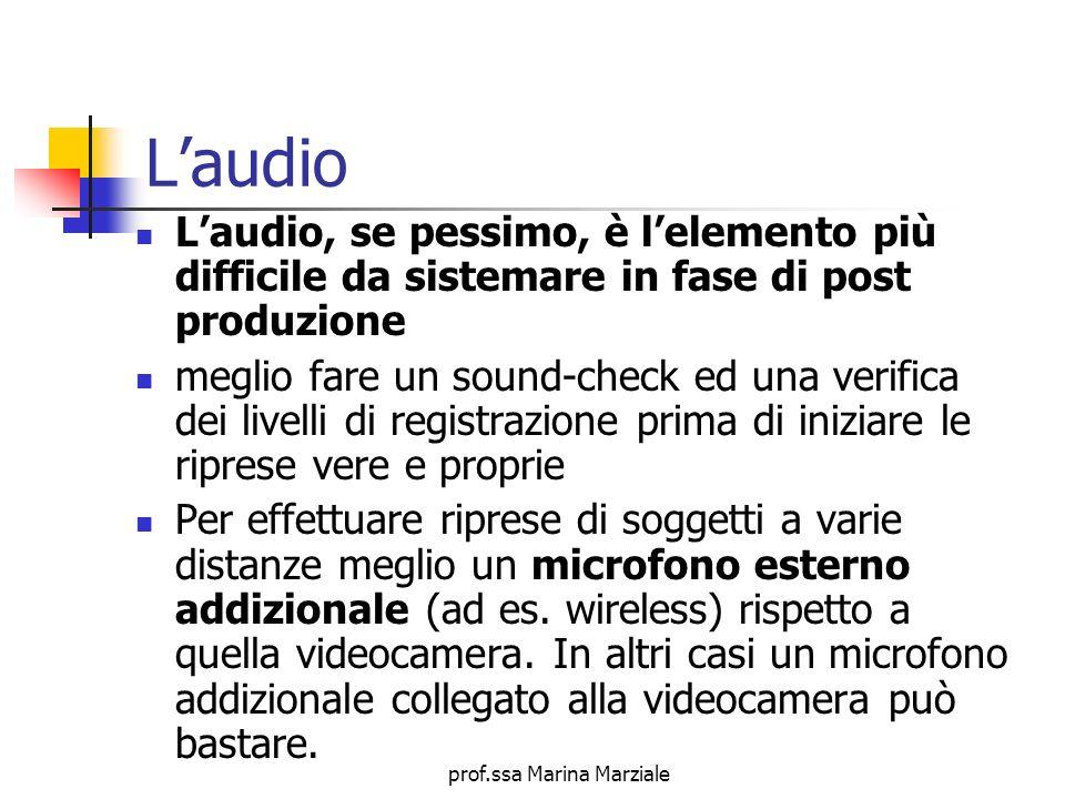 prof.ssa Marina Marziale Laudio Laudio, se pessimo, è lelemento più difficile da sistemare in fase di post produzione meglio fare un sound-check ed un