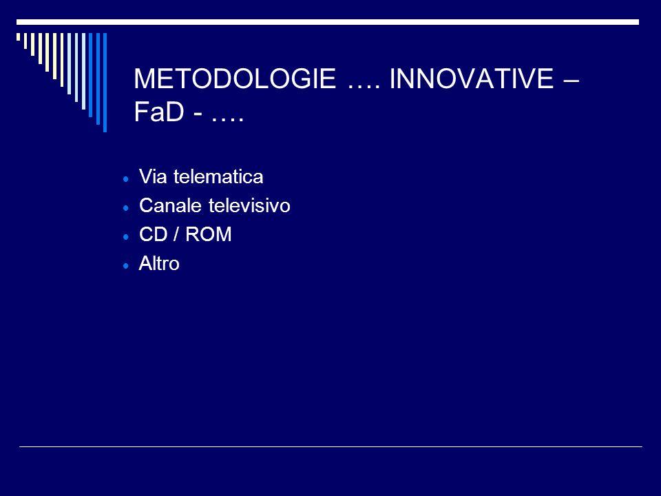 METODOLOGIE …. INNOVATIVE – FaD - …. Via telematica Canale televisivo CD / ROM Altro