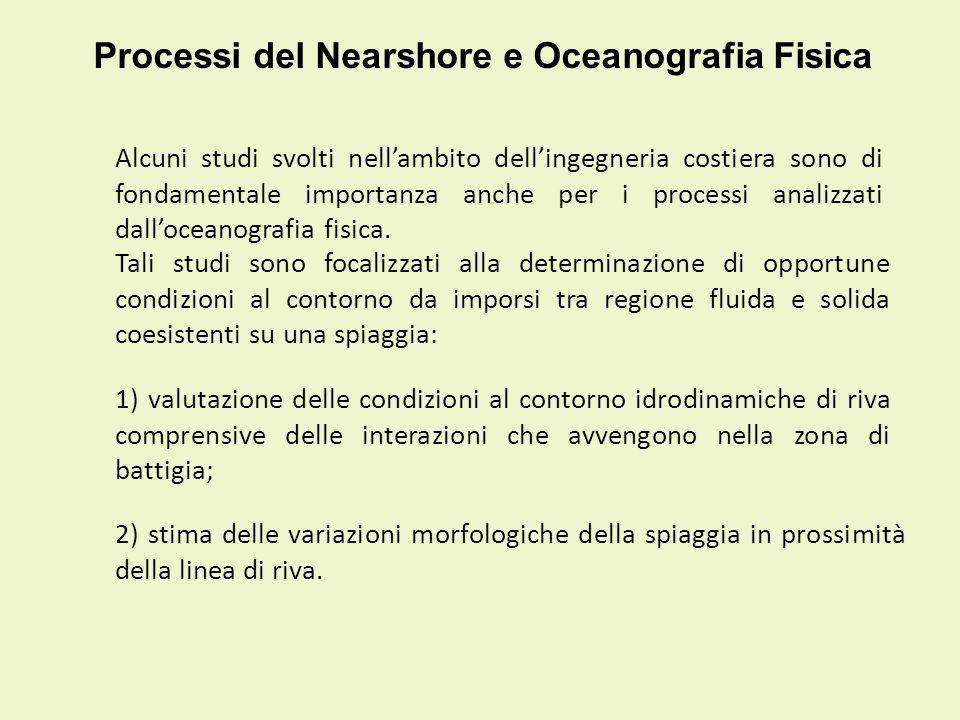 Processi del Nearshore e Oceanografia Fisica Alcuni studi svolti nellambito dellingegneria costiera sono di fondamentale importanza anche per i proces