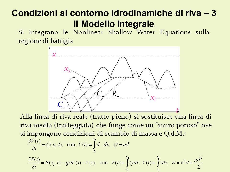 Si integrano le Nonlinear Shallow Water Equations sulla regione di battigia xlxl x t xsxs C+C+ R+R+ C-C- C+C+ R+R+ Alla linea di riva reale (tratto pieno) si sostituisce una linea di riva media (tratteggiata) che funge come un muro poroso ove si impongono condizioni di scambio di massa e Q.d.M.: