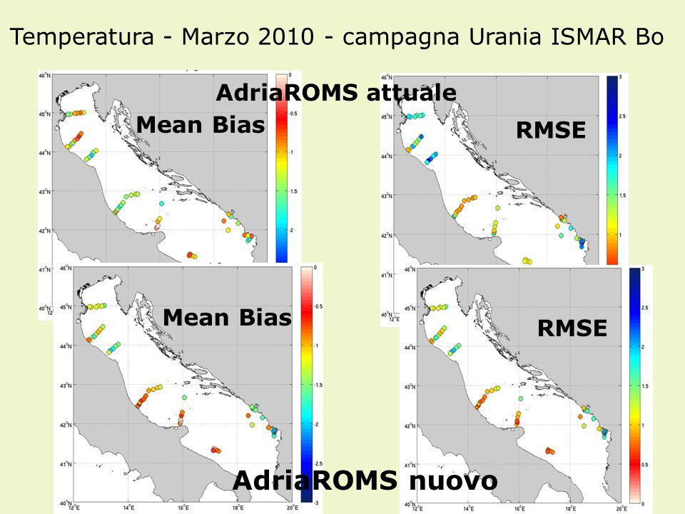 34 AdriaROMS attuale AdriaROMS nuovo Mean Bias RMSE Temperatura - Marzo 2010 - campagna Urania ISMAR Bo Mean Bias RMSE